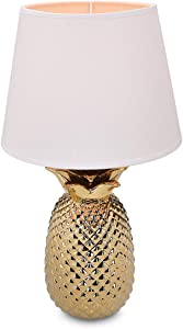 "Navaris Gold Pineapple Table Lamp - 15.75""H Modern Tropical Decor Light with Ceramic Base for Bedroom, Living Room, Tables - Medium, White Shade"