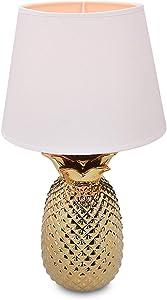 "Navaris Gold Pineapple Table Lamp - 15.75""H Modern Tropical Decor Light with Ceramic Base for Bedroom, Living Room, Tables - Medium, White Shade"