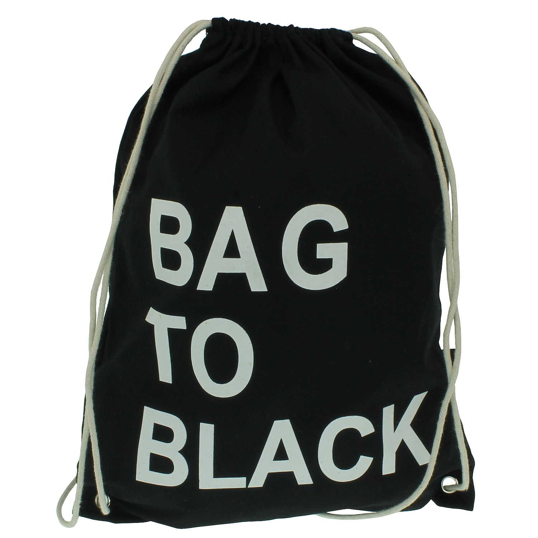 Moderno de yute Bolsa en negro con frase divertida