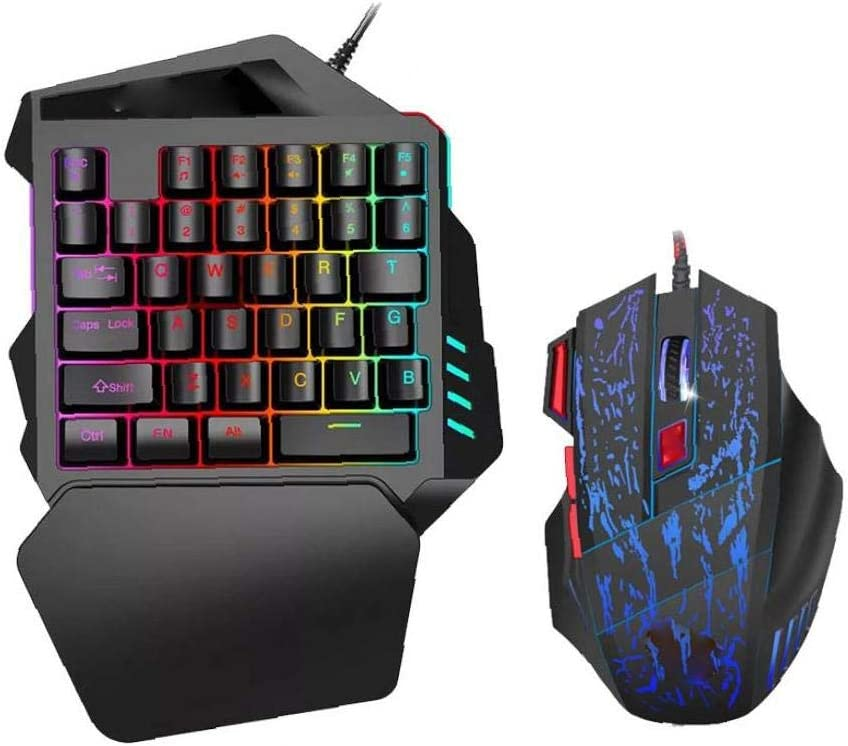 Portátil de una Mano Gaming Keyboard Sensación ratón mecánico Mini Juego de Teclado con el Teclado del reposamanos móvil con conexión de Cable Mouse ...
