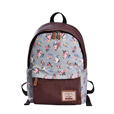 4c98a69720 Floral School Backpacks Canvas Cute Printed Backpack for Teenage Girls  (Powder Blue L)