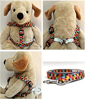 "product image for Diva-Dog 'Block Party' Bright Custom 5/8"" Wide Dog Step-in Harness with Plain or Engraved Buckle, Matching Leash Available - Teacup, XS/S"