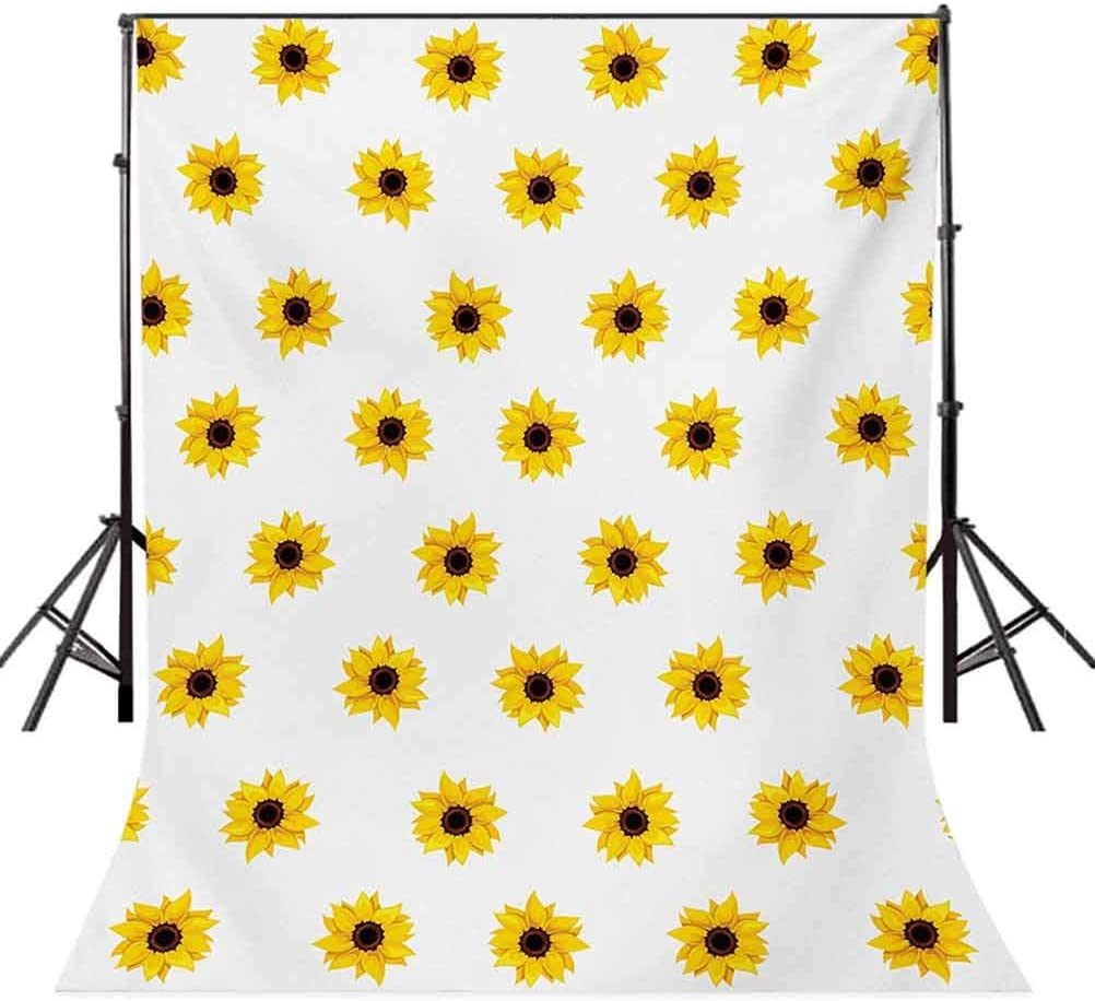 Sunflower 10x15 FT Backdrop Photographers,Sunflower Pattern on a White Background Vibrant Nature Elements Simple Seasonal Art Background for Baby Birthday Party Wedding Vinyl Studio Props Photography
