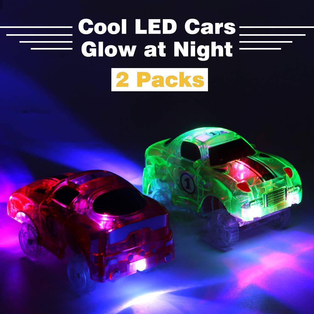 , Packung von 2 Symiu Auto Spielzeug Rennauto Autorennbahn Spielzeugauto mit 5 LED Gl/ühen im Dunkeln Race Car Spielzeug Geschenk f/ür Kinder Junge M/ädchen ab 3 4 5 Jahre alt MEHRWEG