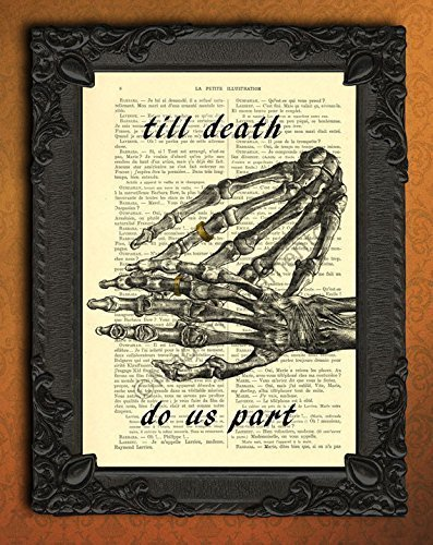 till death do us part wedding poster, human skeleton hands wedding ring wall art, gothic couple rings art print, halloween wedding decor, I love you forever artwork, goth dictionary print decorations]()