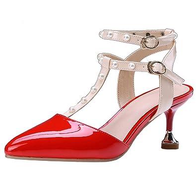 Damen High Heels Spitze Sandalen mit Schnalle und Blumen Stiletto Riemchen  Pumps Elegant Schuhe Agodor Geschäft 44ac623dce
