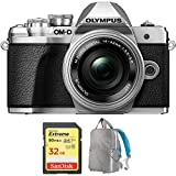 Olympus OM-D E-M10 Mark III Mirrorless Digital Camera with 14-42mm EZ Lens Kit (Silver) V207072SU010 with Sandisk 32GB Extreme SD Memory UHS-I Card & Deco Gear Large Photo/Video Backpack Grey