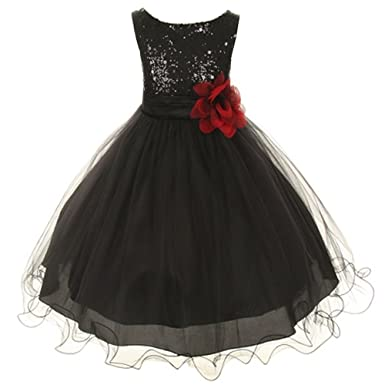 7df71687754 Amazon.com  Sparkly Sequined Mesh Flower Girls Dress Pageant Wedding ...