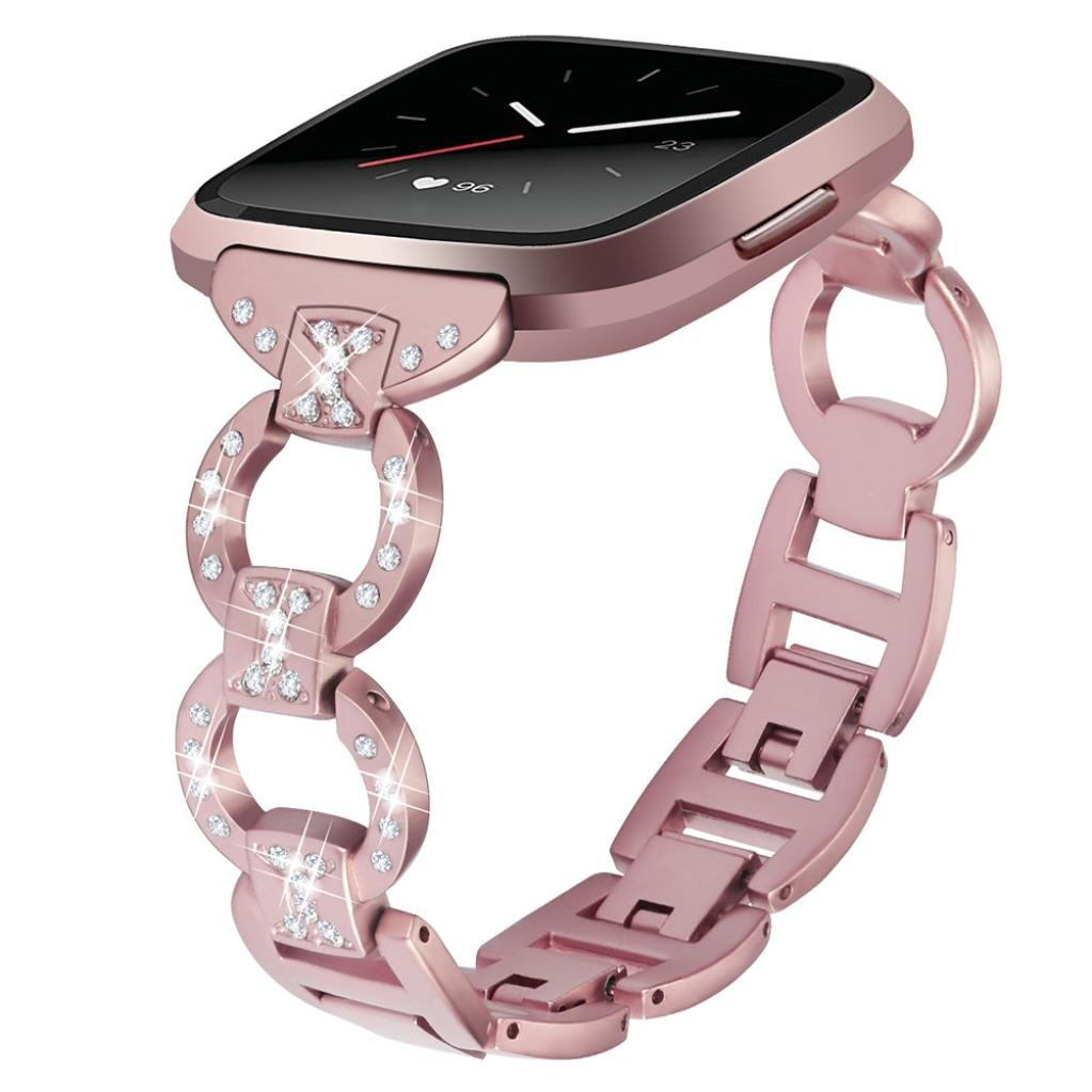 For Fitbit Versa Watch Band, Fullfun Luxury Crystal Stainless Steel Replacement Strap Wrist Band For Fitbit Versa (Rose Gold)