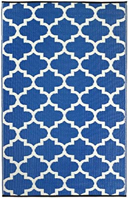 UV /& Stain Resistant Dublin Mildew 150 cm x 240 cm Patio Garden Mold Perfect for Decking Fab Hab Reversible Outdoor//Indoor Rug Dazzling Blue /& White