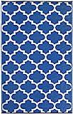 Fab Habitat Tangier Recycled Plastic Rug,  Regatta Blue & White, (5′ x 8′) For Sale