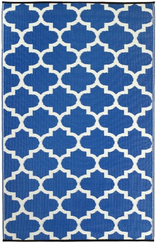 Recycled Outdoor Rugs - Fab Habitat Tangier Recycled Plastic Rug,  Regatta Blue & White, (6' x 9')