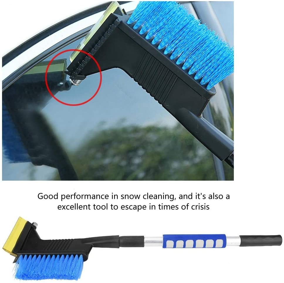 Auto Snow Remover with Retractable Handle Blue Multi-Purpose Use Tool for Automotive in Winter Snow Removal Brush with Safety Hammer KIMISS Universal Car Snow Shovel Integrated with Ice Scraper