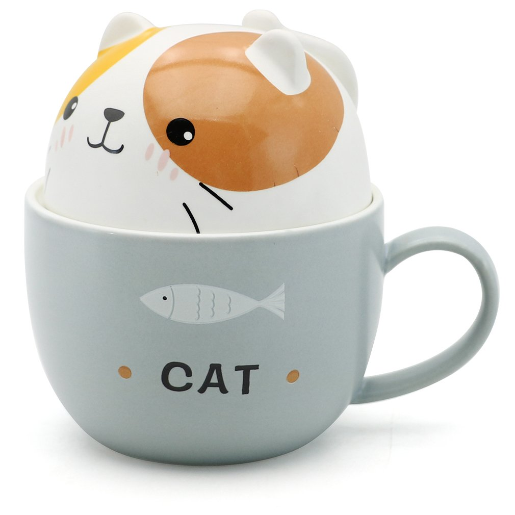 EPFamily Cute 3D Cat Mug Funny Ceramic Coffee Mugs Set with Lid Porcelain Tea Cups Gifts for Women Girls Animal Lovers 11 Oz by EPFamily
