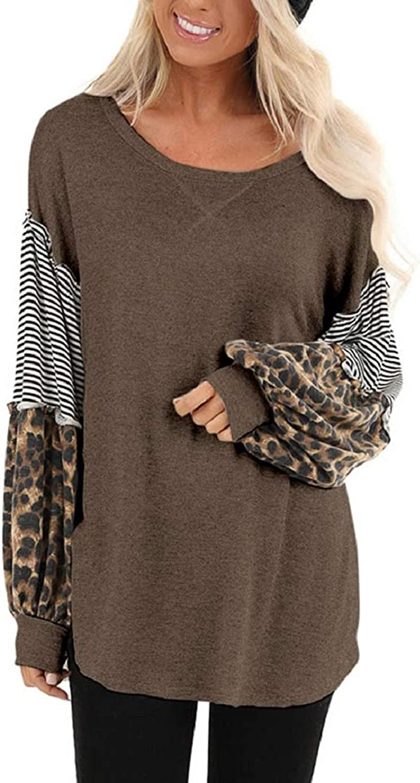 Women Casual T Shirts Leopard Print Patchwork Tops Loose Crewneck Long Sleeve Raglan Pullovers Shirts Blouses Sopzxclim