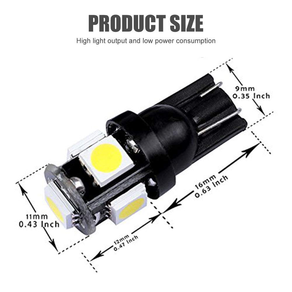 AMAZENAR 194 White LED Black Body Light 12V,120LM 7000k Car Interior and Exterior T10 5SMD 5050 Chips Replacement for W5W 168 2825 Map Dome Courtesy License Plate Dashboard Side Marker Light by