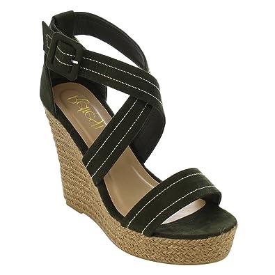 136a255ca22 Refresh IE53 Women Stitched Criss Cross Strap Espadrille Platform Wedge  Sandals