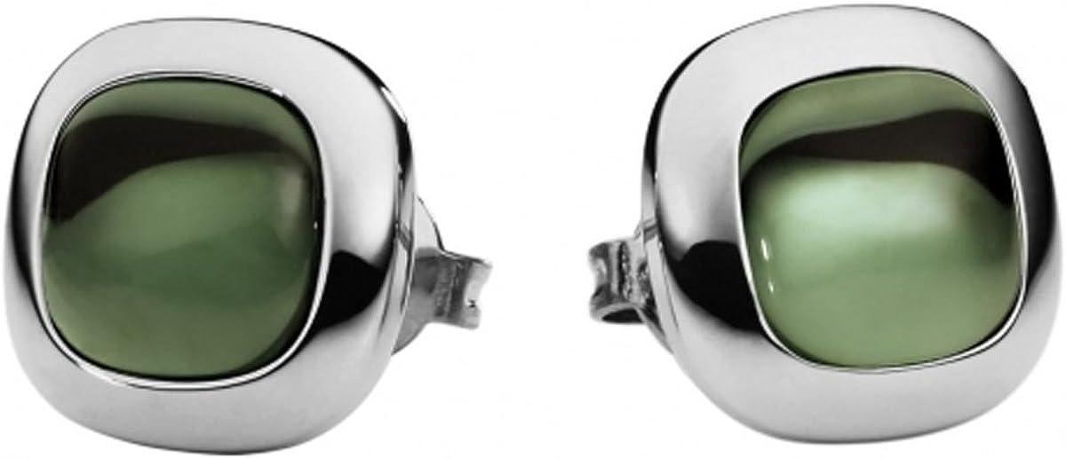 Metal Damen-Pendientes de acero inoxidable de cuarzo verde - 411986G0