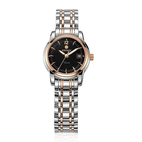 binlun mujeres Dial de reloj movimiento de cuarzo japonés de mano con Calendar-Black perpetuo: Amazon.es: Relojes