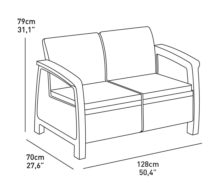 Charcoal Keter Corfu 4 Piece Set All Weather Outdoor Patio Garden Furniture w// Cushions