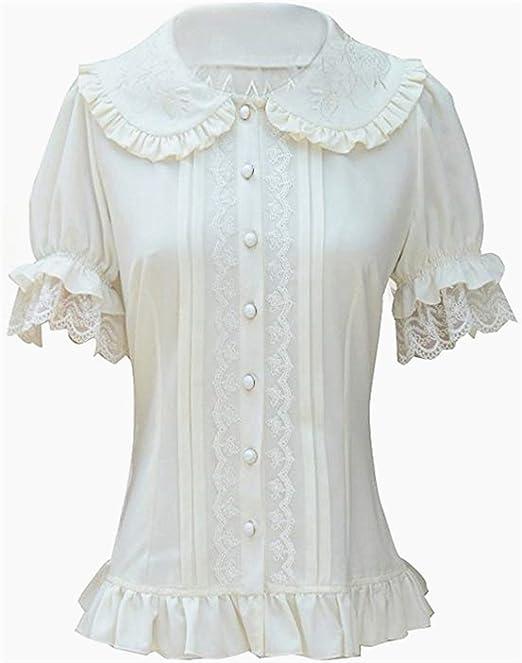 Falda Plisada con Volados de Gasa Blusa para Mujer Blusa Lolita Victoriana Retro Blusa (M