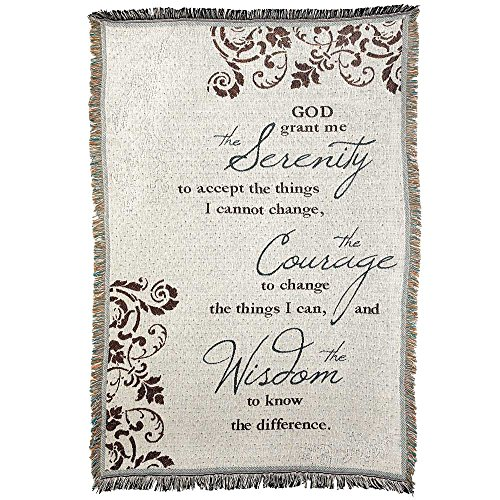 (Serenity Prayer Filigree Leaves 46 x 68 All Cotton Tapestry Throw Blanket)