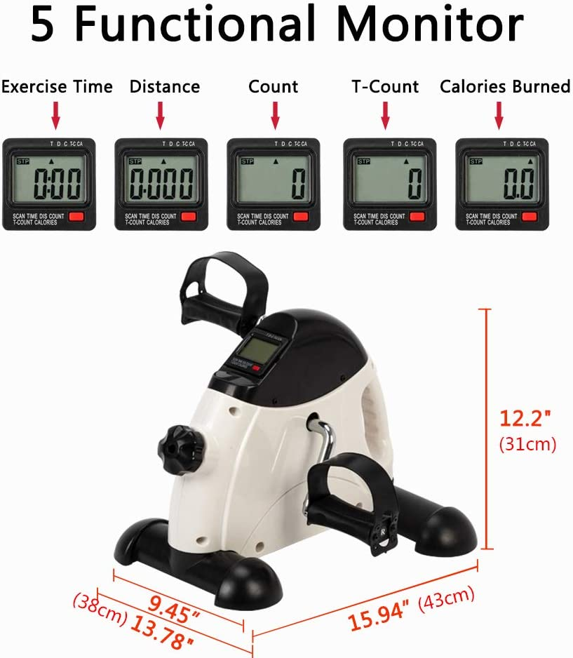 goodwit Home Use Hands and Feet Trainer Mini Exercise Bike Black