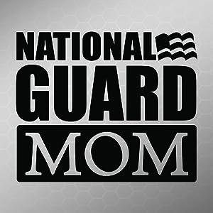 National Guard Mom Flag Vinyl Decal Sticker   Cars Trucks Vans Walls Laptops Cups   Black   5.5 X 4.5 Inch   KCD1714B