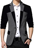 XQS Mens Casual Notched Lapel One Button Wool Blazer Jacket Coat