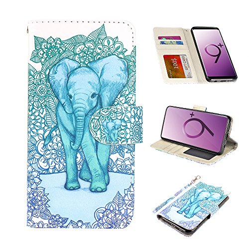 UrSpeedtekLive Galaxy S9 Plus Wallet Case Folio Flip Premium PU Leather Case Cover w/Card Holder Slot Pockets, Wrist Strap, Magnetic Closure Compatible Samsung Galaxy S9 Plus(2018),Elephant