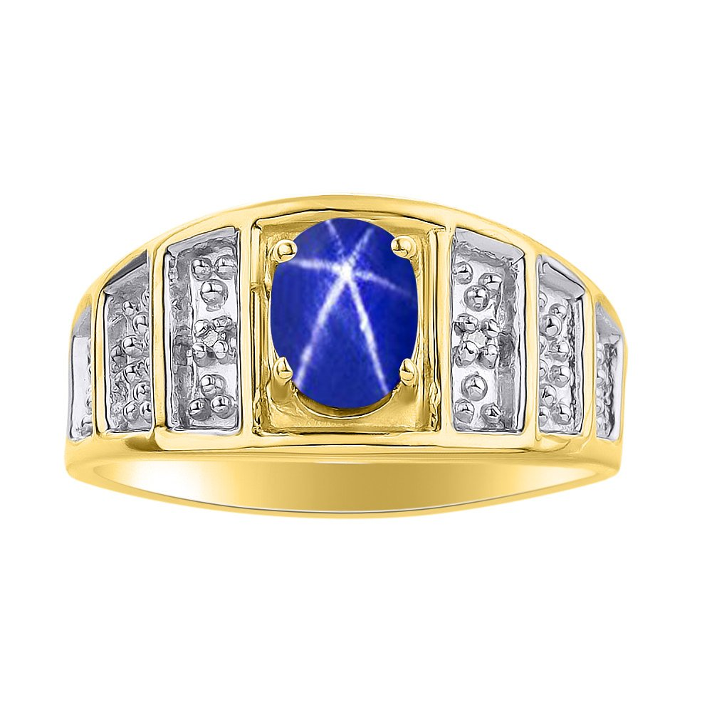 Color Stone Birthstone Ring Diamond /& Blue Star Sapphire Ring Set In Yellow Gold Plated Silver