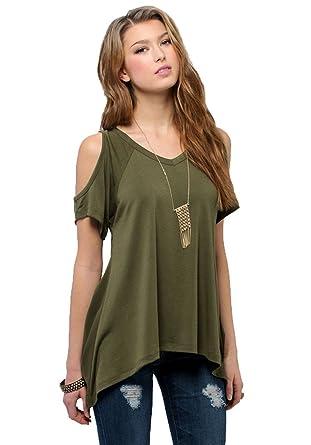 Urban CoCo Women's Vogue Shoulder Off Wide Hem Design Top Shirt - X-Small - Army Green
