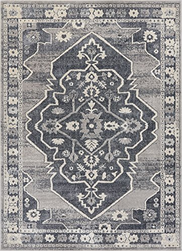 Well Woven Stanza Grey Microfiber High-Low Pile Vintage Abstract Erased Medallion 4x6 (3'11'' x 5'3'') Area Rug Modern Serapi Ethnic Tribal Floral (Serapi Carpet)