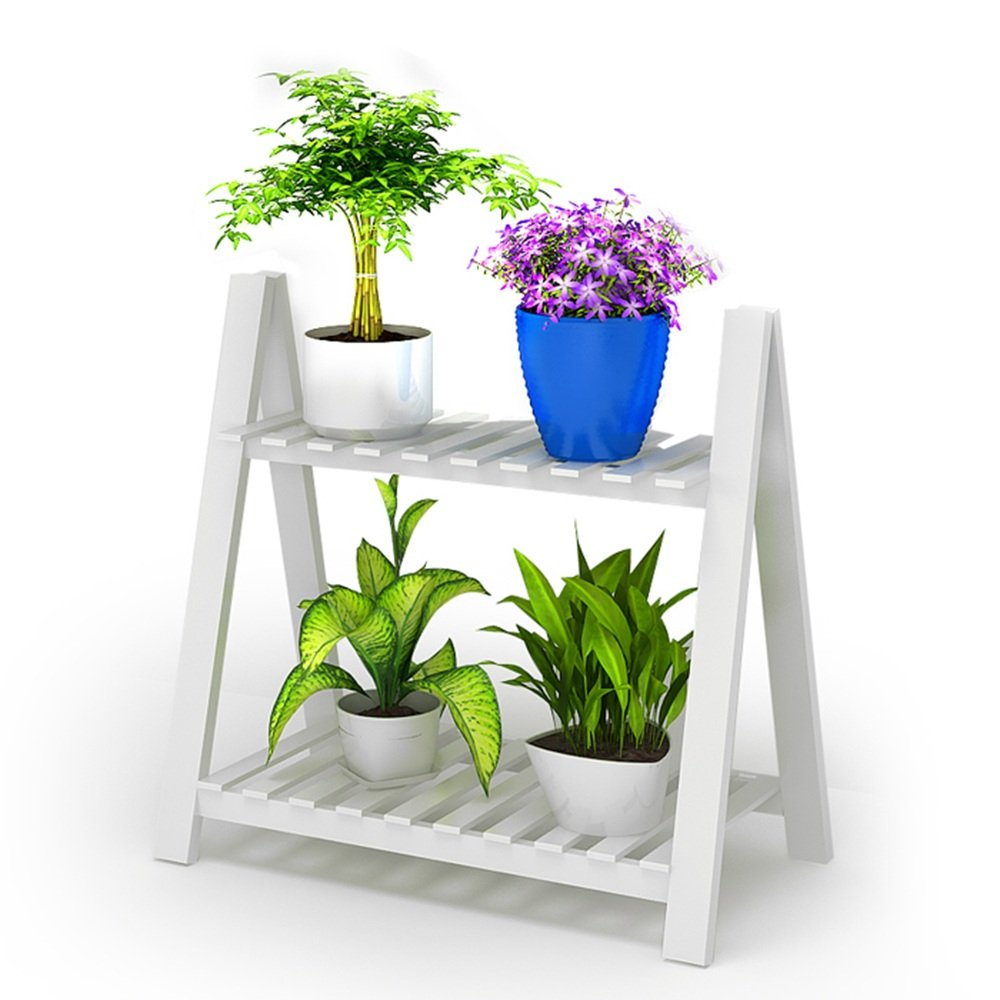 LJHA huajia Flower Stand Solid Wood Storage Racks Folding Shelves Against The Wall Trapezoidal Flower Stand White Size Optional by GYH Flower stand