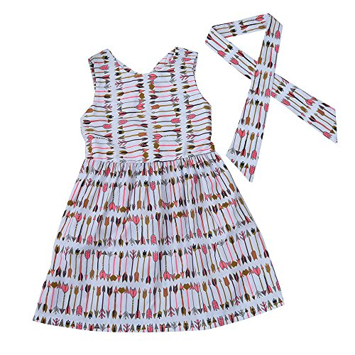 Birdfly Little Girls Arrows Pattern Dress with Matching Headband Toddlers Casual Sleeveless Dresses for School Beach Party Holidays (2-3T, - Dress Arrow