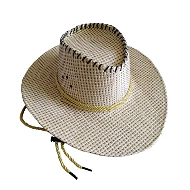 a488bf2b355 WONNA Unisex Panama Hat Summer Straw Beach Cap Cool Cowboy Hats Travel  Vacation Seaside Hats Apricot at Amazon Men s Clothing store