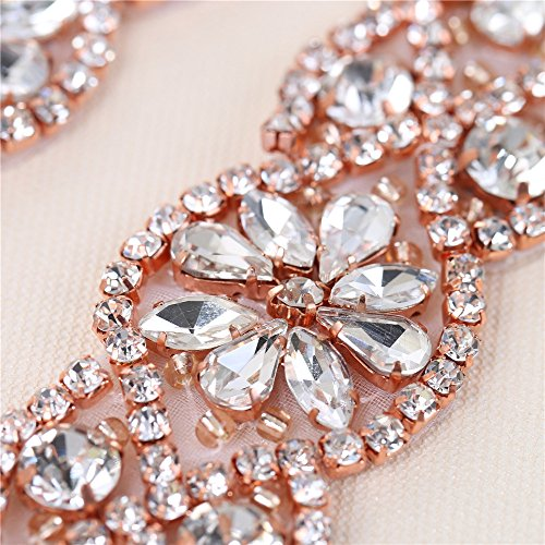 (2 piezas) Rhinestone Applique con Cristales y Perlas para el Vestido Headpieces Bolsas Cinturon para Vestido Novia, Cinturones Boda oro rosa