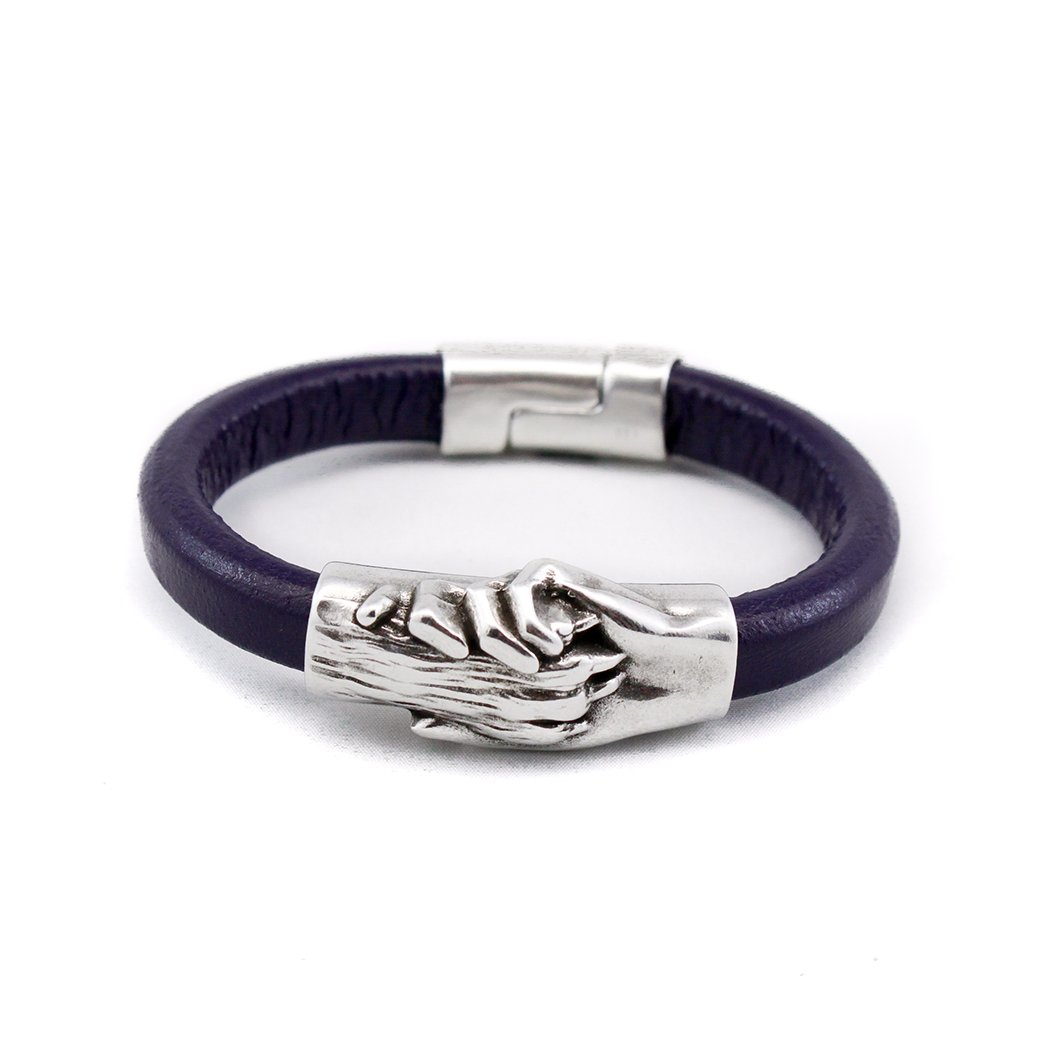 Hand and Paw Project Leather Bracelet, Small, Eggplant