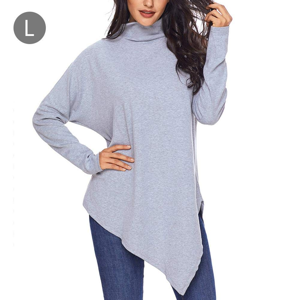 iBaste Women Tops Winter Clothes Asymmetric Turtleneck Sweater Shirt Pullovers Tunic Tops