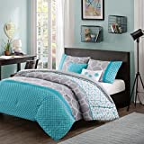 Teen Aqua and Grey 4Pc Comforter Set Bedding Twin XL Cute PB Vogue Bedspread Duvet Perfect For College Teenager Room Dorm Or Adult Bedset. Modern Unique Fresh Vibrant Elegant Fashion Smart Home