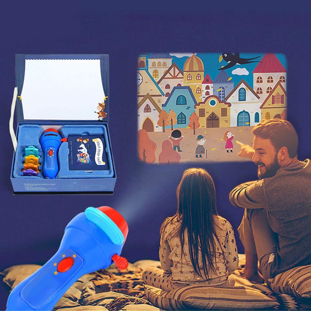 FORYOURS Linternas Proyector para Niños, Linterna Magica Una Antorcha Mini Story, 4 Cuentos De Hadas Películas, Mini Lámpara Portátil para Niños ...