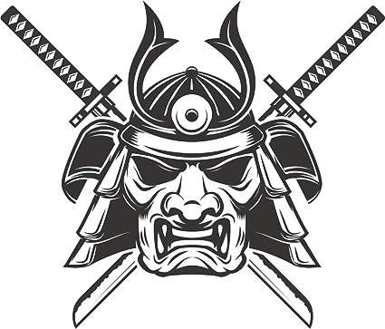 Amazon.com: Simple Black White Japanese Warrior Cartoon ...