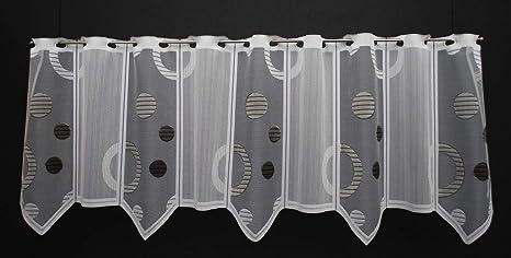 Scheibengardine Kreisepunkte 45 Cm Hoch Breite Der Gardine Durch Gekaufte Menge In 16 Cm Schritten Wählbar Anfertigung Nach Maß Weiß Silber