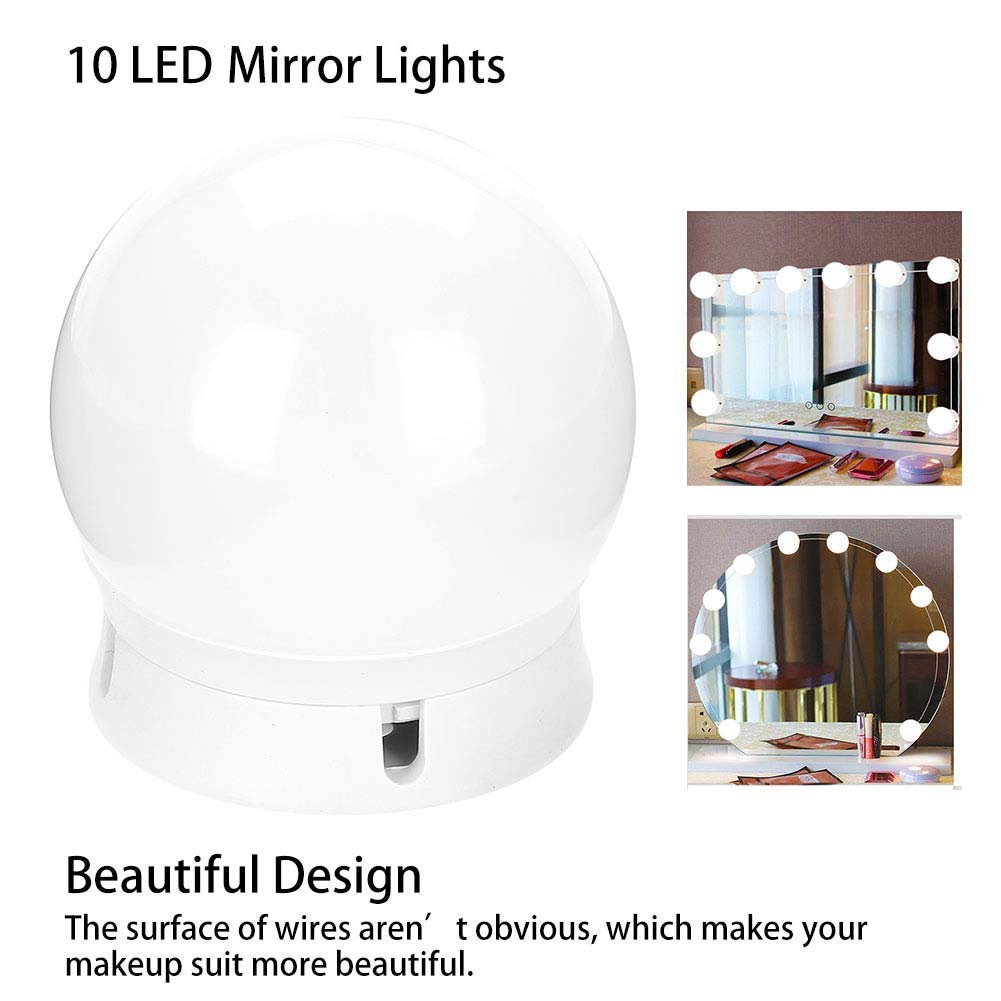 LED Vanity Mirror Lights, Hollywood Style Make up Mirror Light Dimmable Soft White 10 LED Makeup Mirror Lights for Makeup Dressing Table with Switch Dimmer and Power Supply