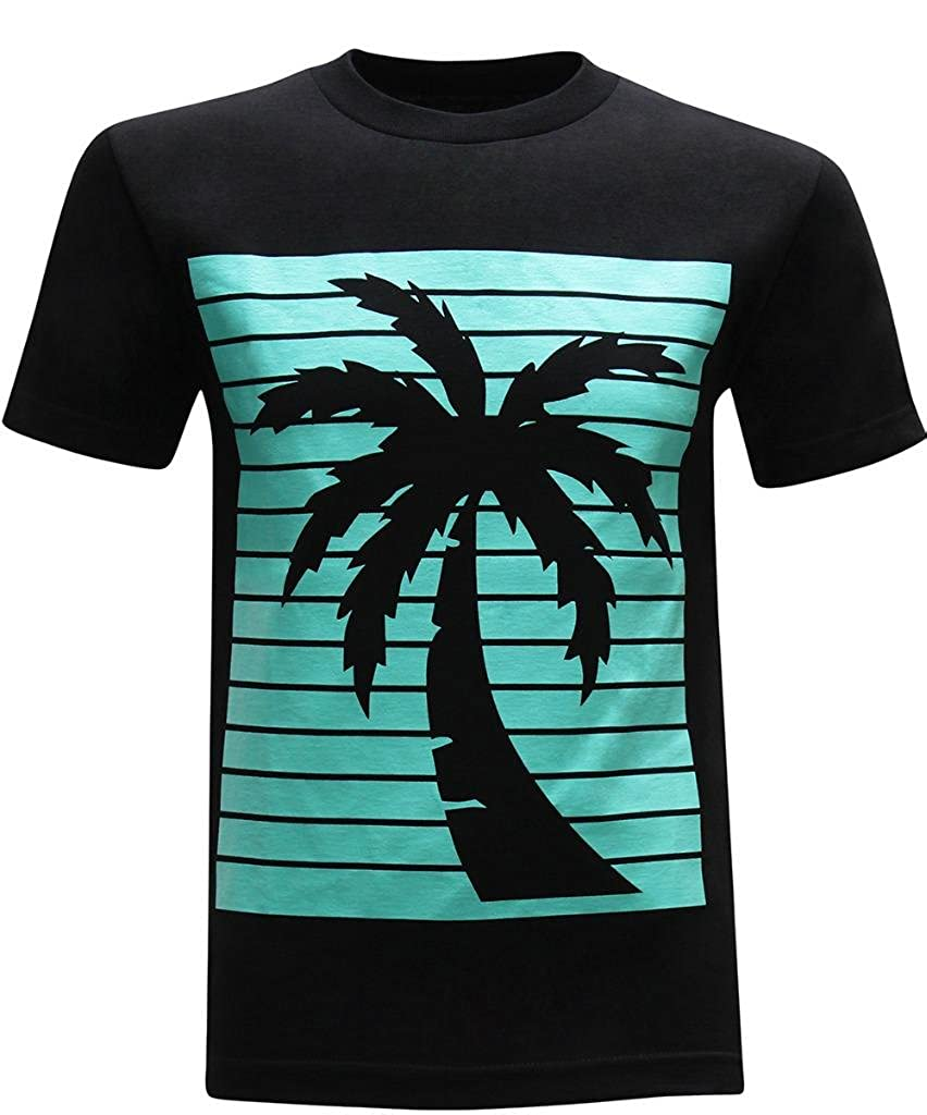 Amazon.com: California Republic Turquoise Palm Men's T-Shirt: Clothing