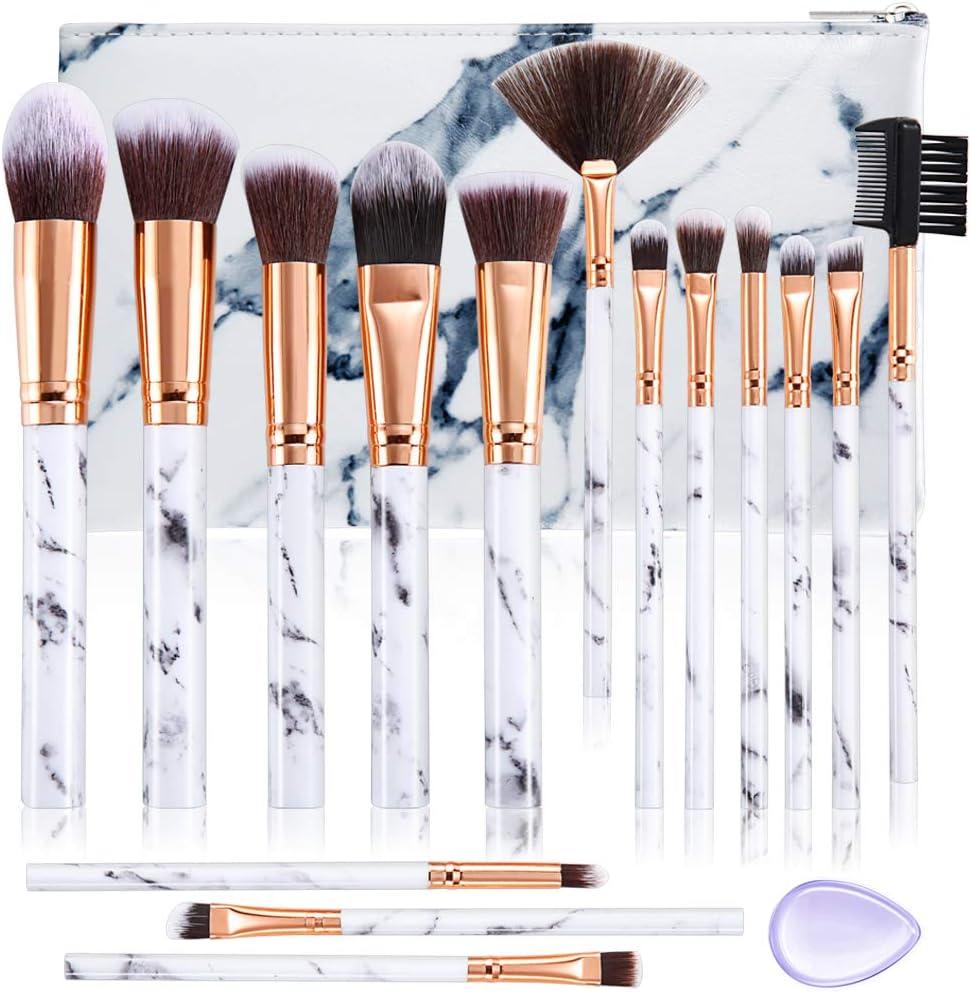 Set de brochas de maquillaje DUAIU 15Pcs Brochas Maquillaje Profesional Premium Sintético Pinceles Sombra de ojos Corrector Crema para cejas En polvo Mezcla con bolsa de cosméticos de mármol