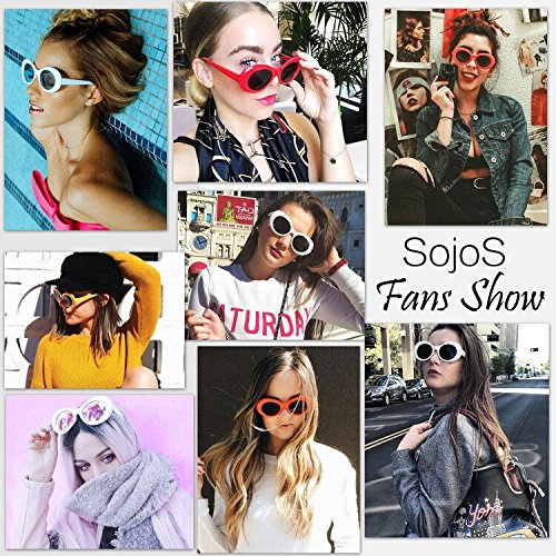 SJ2039 De Rojo Kurt Mod Style Marco SOJOS Sol Lentes Gris Oval Grueso Cobain Sunglasses Retro U5qwq7R