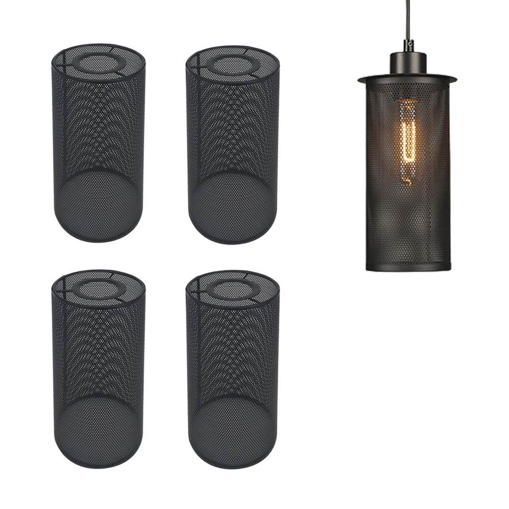 STGLIGHTING 4-Pack Industrial Vintage Black Metal Bulb Guard Iron Mesh Fixture Replacement Hanging Ceiling Pendant Light Holder Decorative Lamp Shade (Light Socket Not Included)