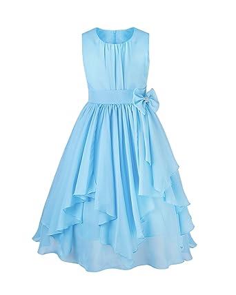 b889b24f336 iEFiEL Kids Big Girl Asymmetric Ruffles Flower Girl Dresses Outdoor Wedding  Bridesmaid Chiffon Dress Blue 4