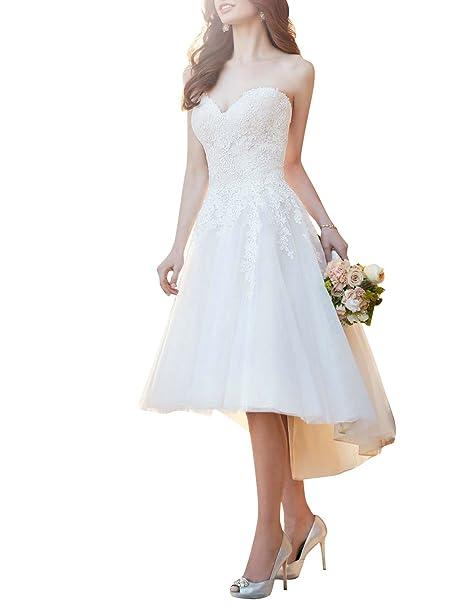 Vestido de Boda Corto Vestido de Novia Mujer Tul Sin Tirantes Alta-Baja Blanco EUR32